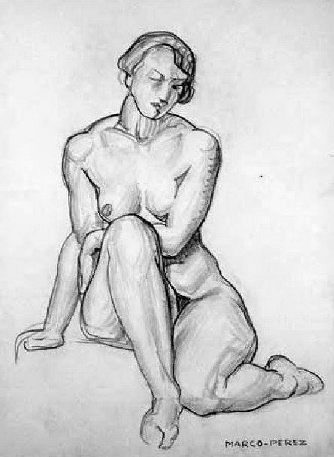 Vida de clase de arte desnuda posando