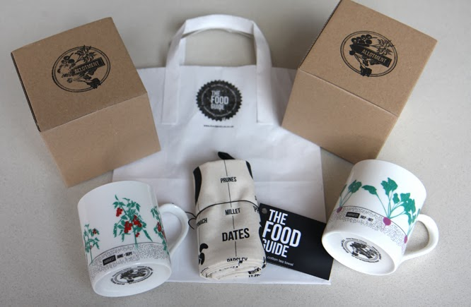 Mugs and tea towel from the food guide