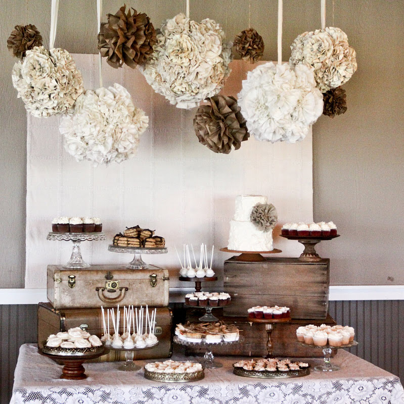 Karas Party Ideas Burlap And Lace Wedding Dessert Table