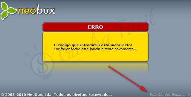 neobux código erro error dinheiro ptc