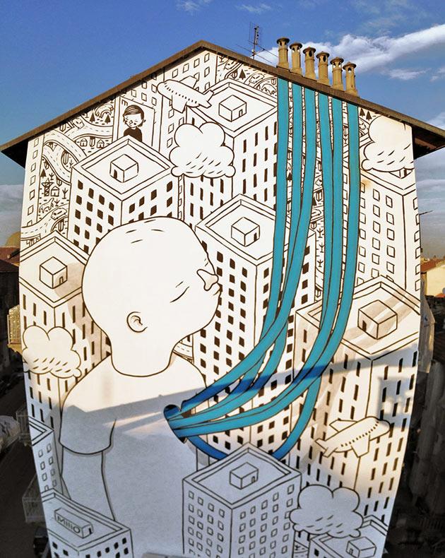 Murales amigables en las calles de Italia por Millo