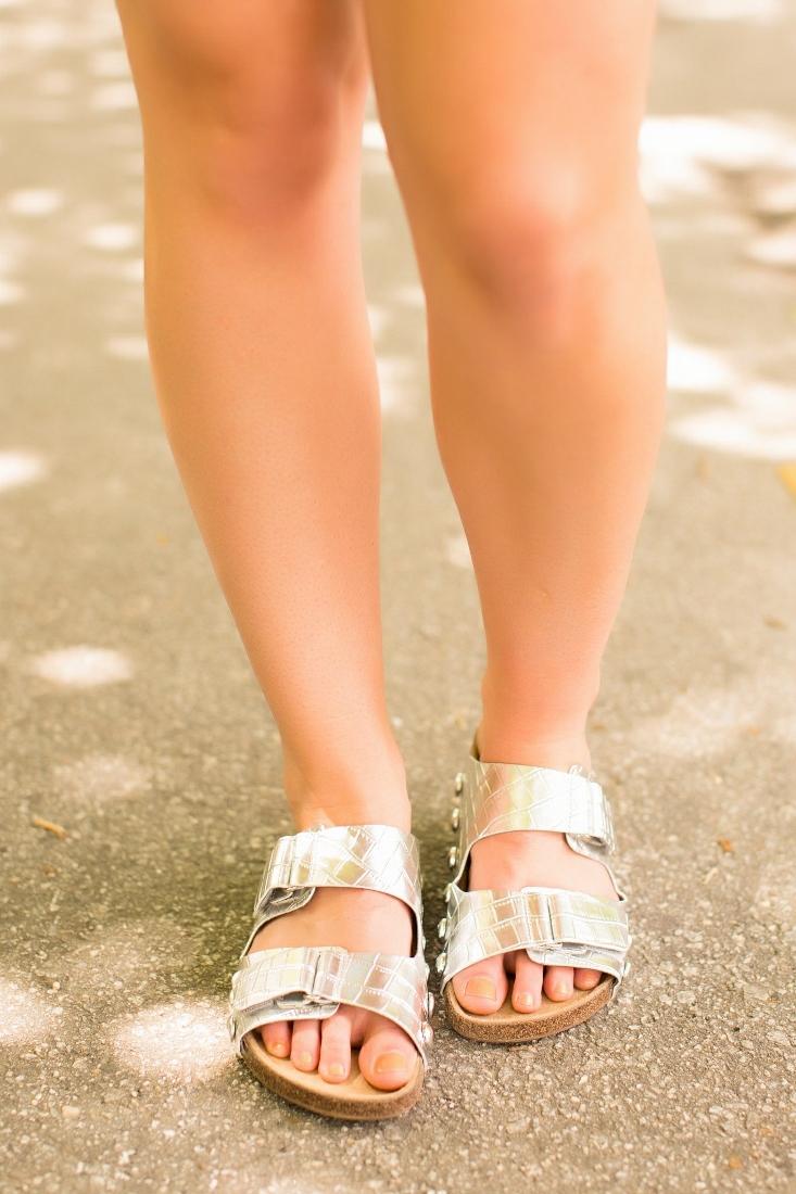 Sam & Libby Metallic Birkenstock sandal