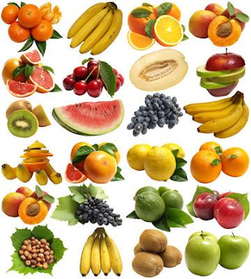 24 fotografías de frutas con fondo blanco para diseñadores