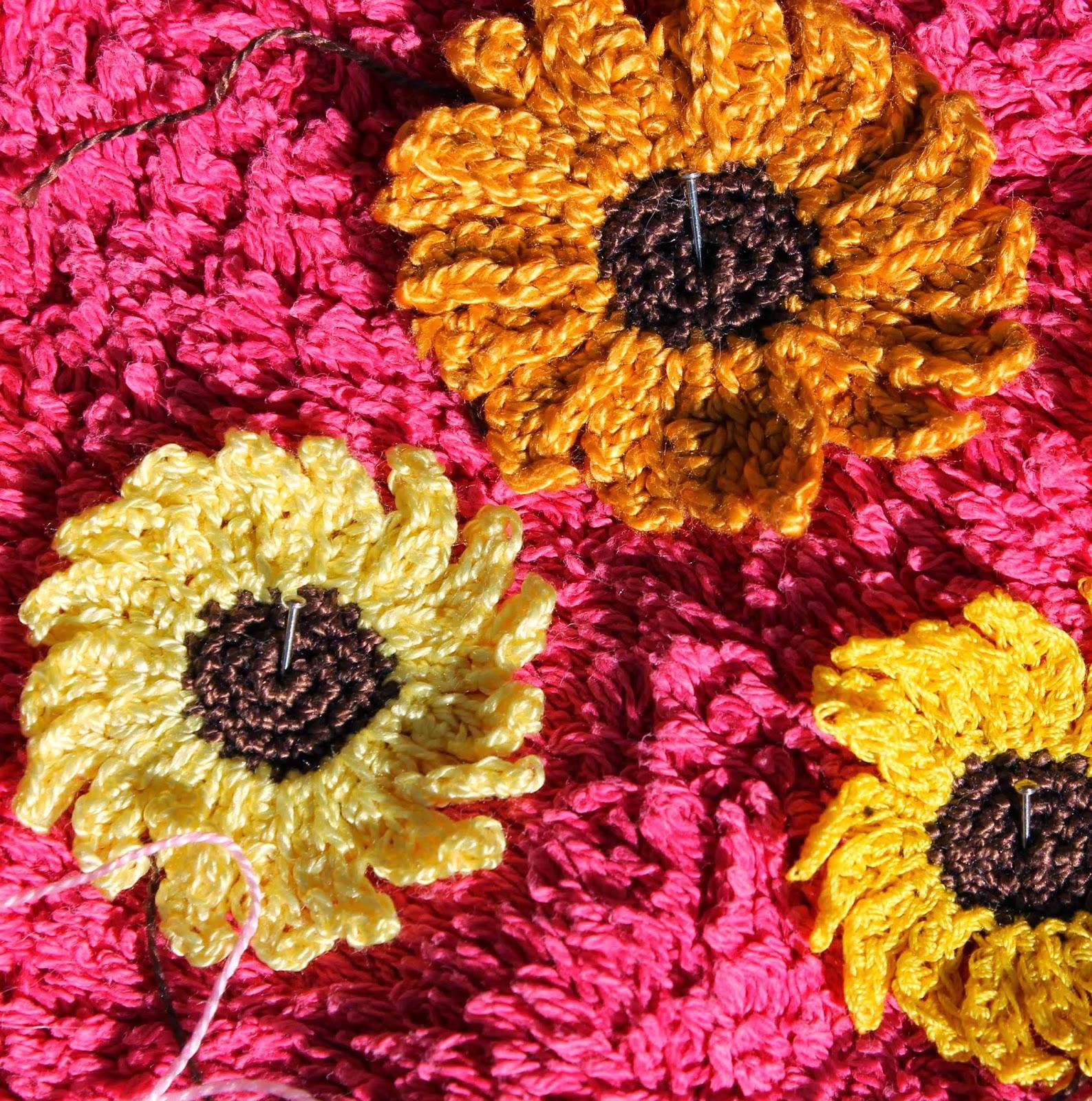 Blocking crochet sunflowers