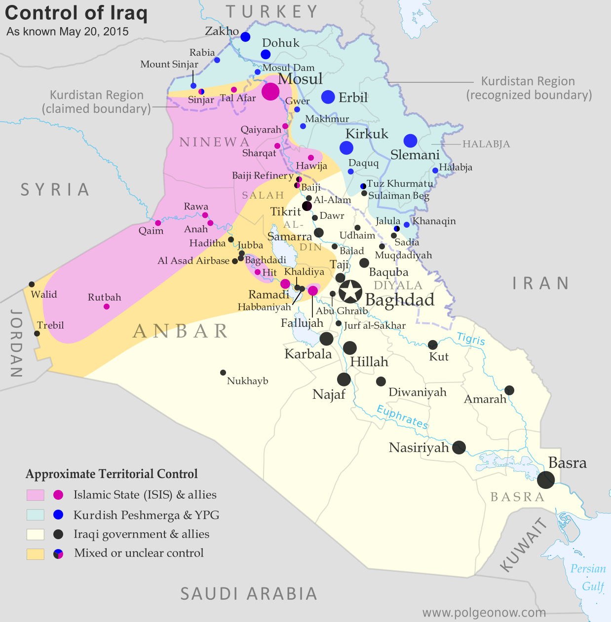 War In Iraq Map Of Islamic State Control In May Political - Iraq map