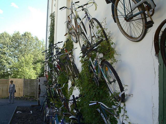 Bicicletaria chama a atenção com 120 bicicletas penduradas na parede