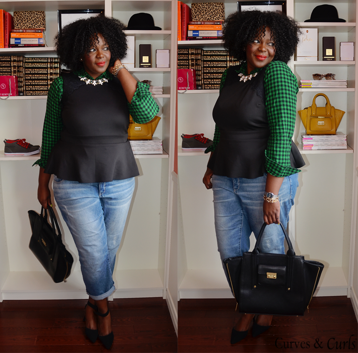 30x 30 outfit challenge: how to wear peplum top #plussize see more on mycurvesandcurls.com