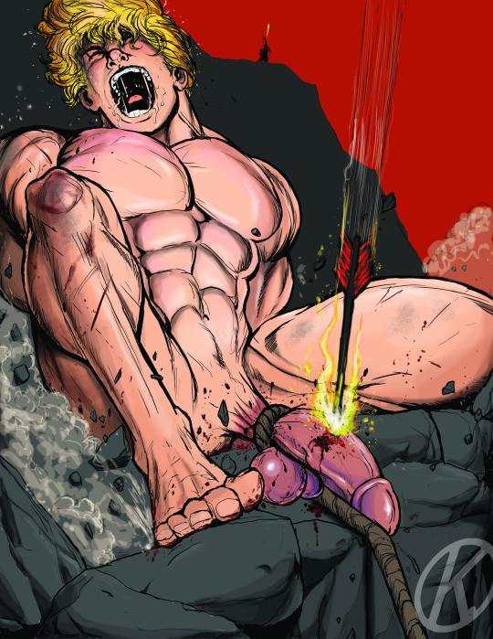 burning arrow in cock