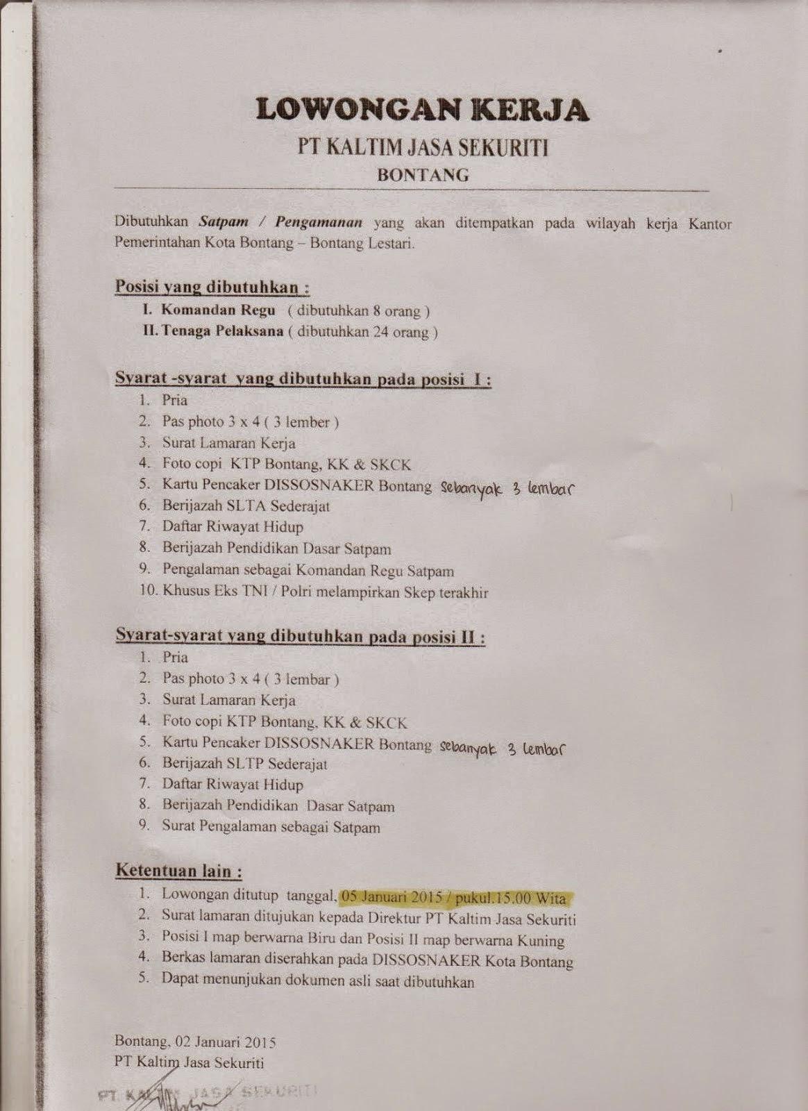 Lowongan Kerja PT Kaltim Jasa Sekuriti ( KJS )  Bontang