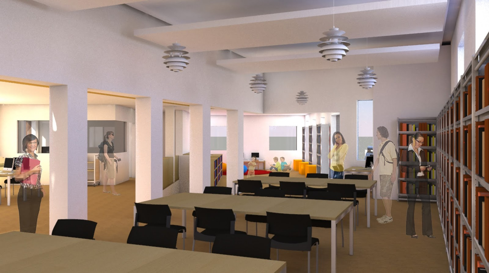rendering of proposed library remodel