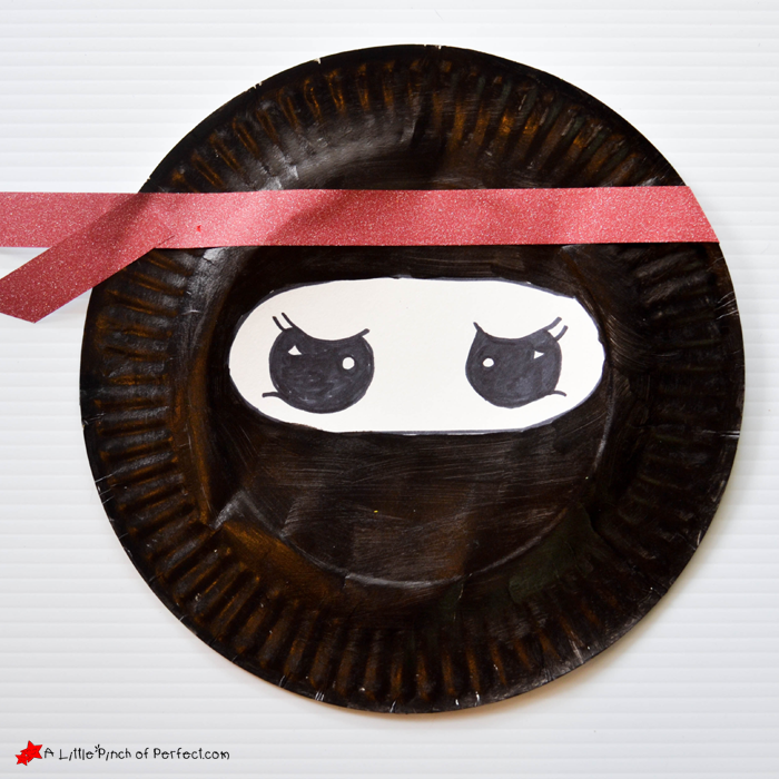 Have child draw on eyes and use washi tape (or gluing craft paper) to make the ninja headband and add a bit of style to their masked warrior. & Ninja Paper Plate and Cardboard Tube Craft for Your Little Warrior -