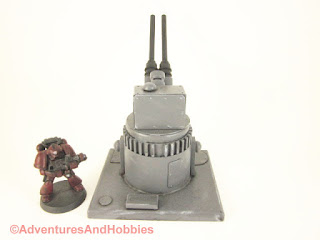 Miniature wargame remote air defense gun turret - rear view.