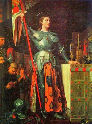 Santa Juana vestida con armadura y un estandarte
