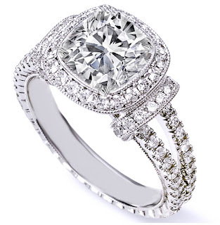 Double Band Cushion Cut Diamond Engagement Rings Settings