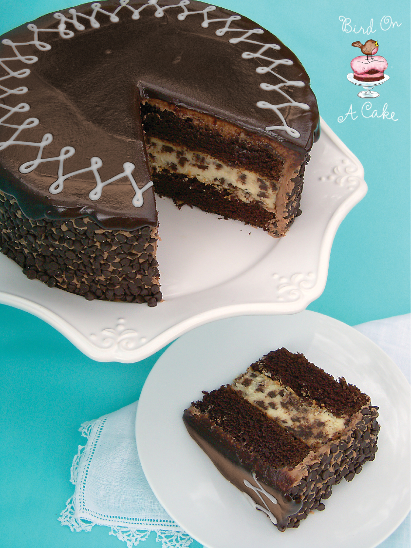 Layers of chocolate cake and chocolate chip cheesecake ,