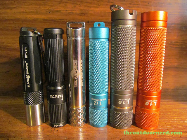 From Left: BlackShadow Eva, Olight I3S, Solarforce X3, Thrunite Ti2, L3 Illuminations L10 (Nichia), L10 (XP-G2)