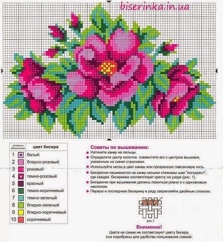 Вышивки из бисера схемы цветы 38