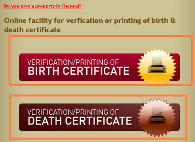 Online date of birth certificate chennai