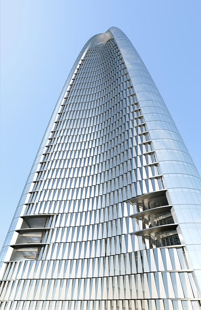 Photo of Greenland Center facade as seen from the ground looking up