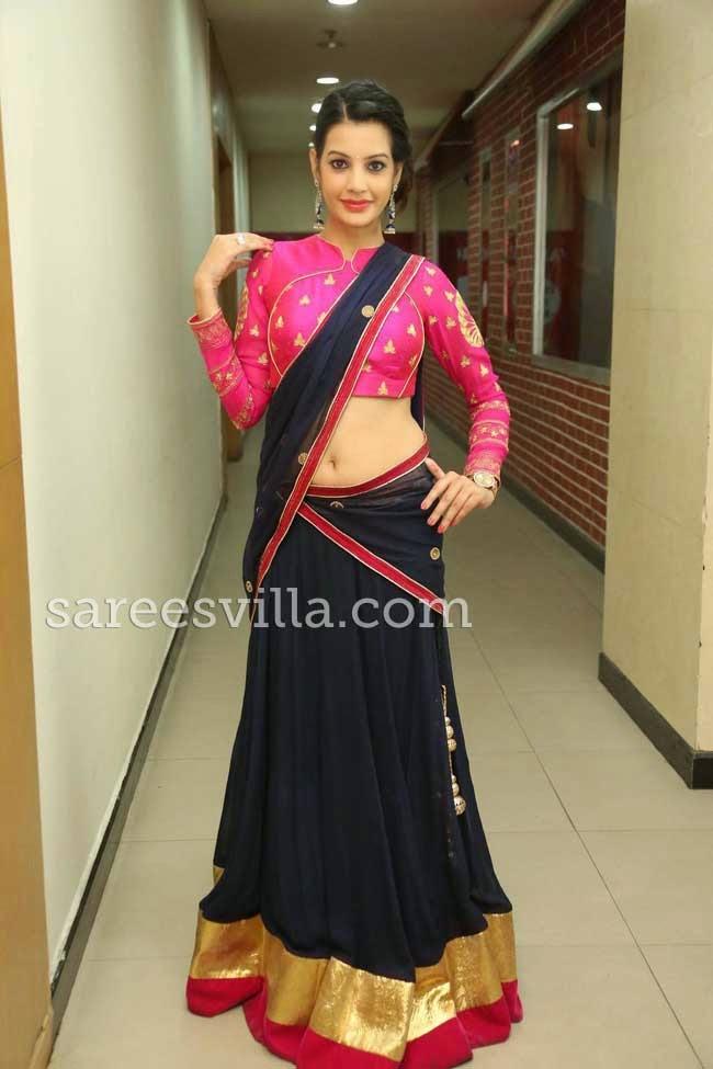Deeksha Panth In Black and Pink Half Saree
