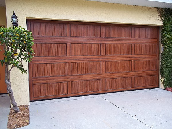 Creating a wood grain paint job on a garage door for How to paint a garage door to look like wood