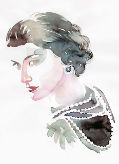 A drawing of Coco Chanel wearing her signature pearls