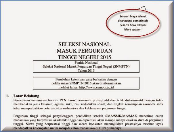 informasi tentang SELEKSI NASIONAL MASUK PERGURUAN TINGGI NEGERI (SNMPTN) Tahun 2015