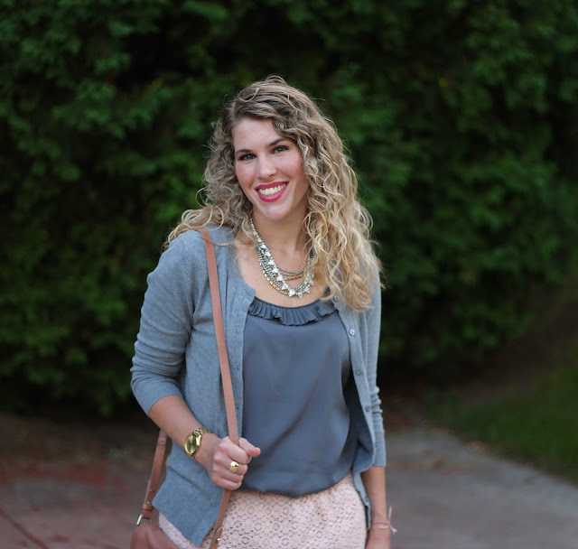 grey blouse, grey cardigan, blush lace skirt, blush laser cut heels, blush Cole Haan bag