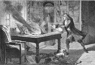 Incêndio no laboratório de Alquimia de Isaac Newton