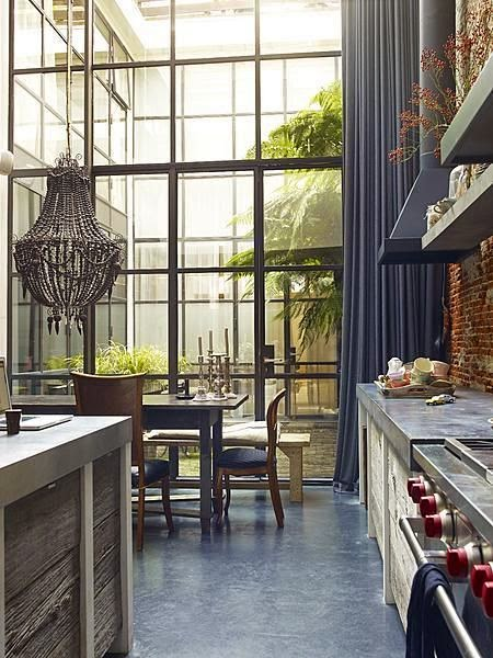 beautiful traditional style decor kitchen two story steel counters industrial windows