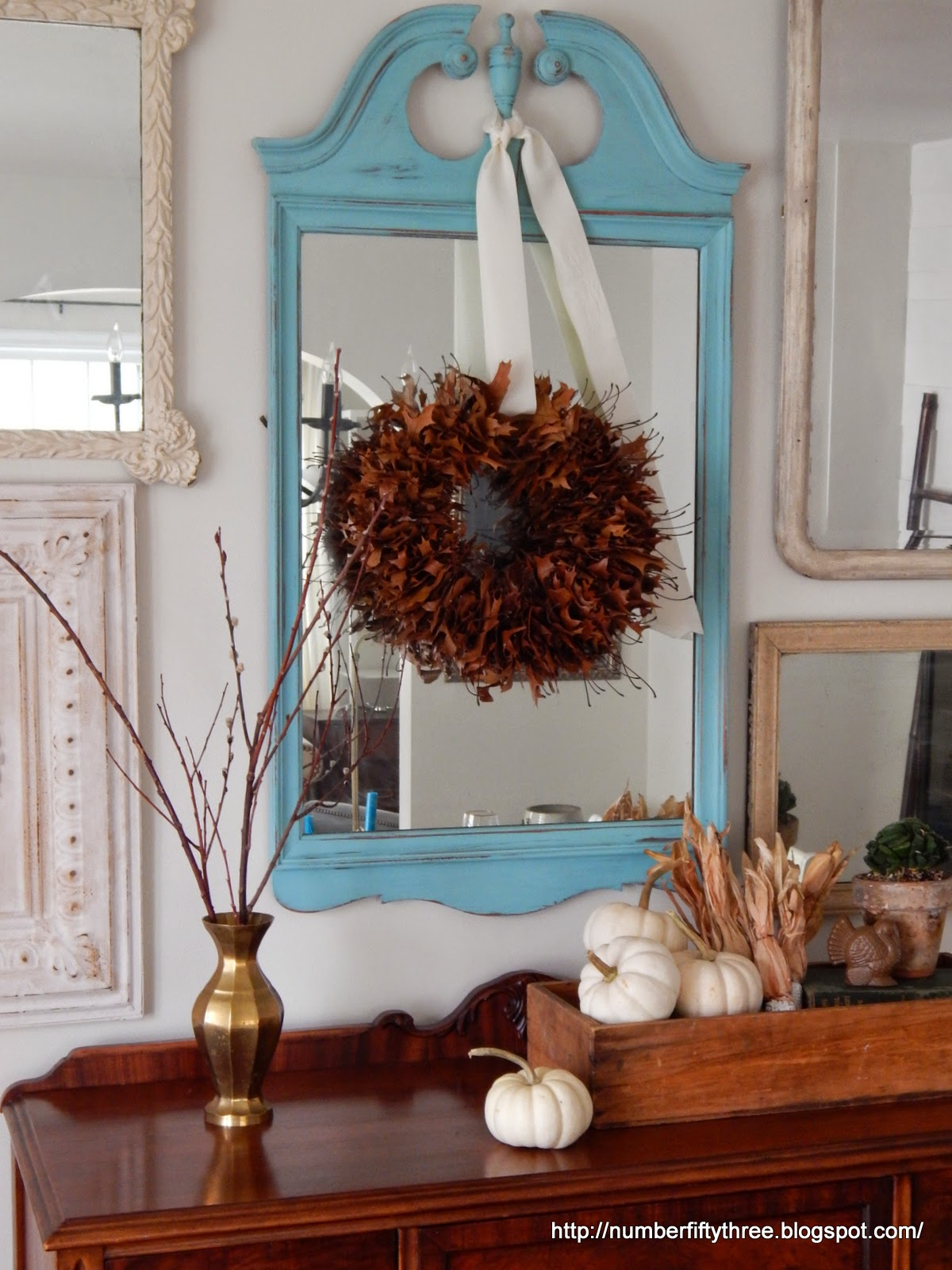 This oak leaf wreath make a great natural accent