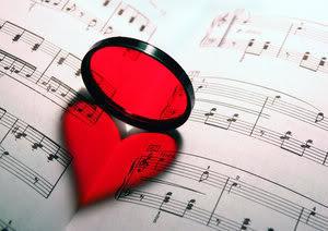 Srce i glazbene note ljubavne slike