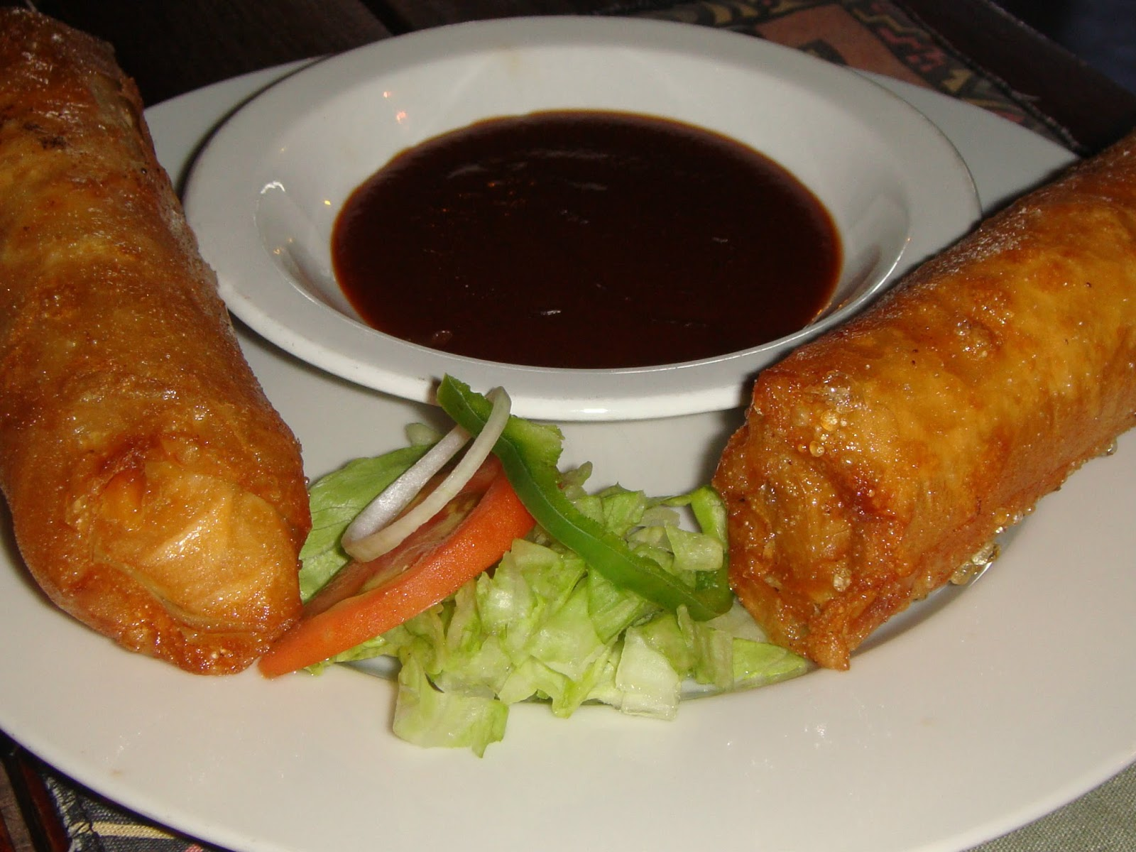 couple of enormous egg rolls at Chobe.