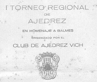 Cartel del Torneo Regional de Ajedrez de Vic 1949