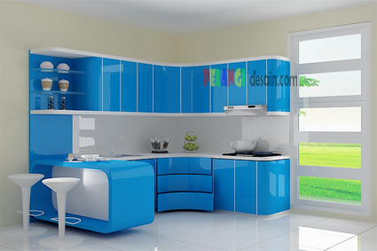 Kitchenset pelangi desain interior kitchen set biru for Kitchen set warna putih