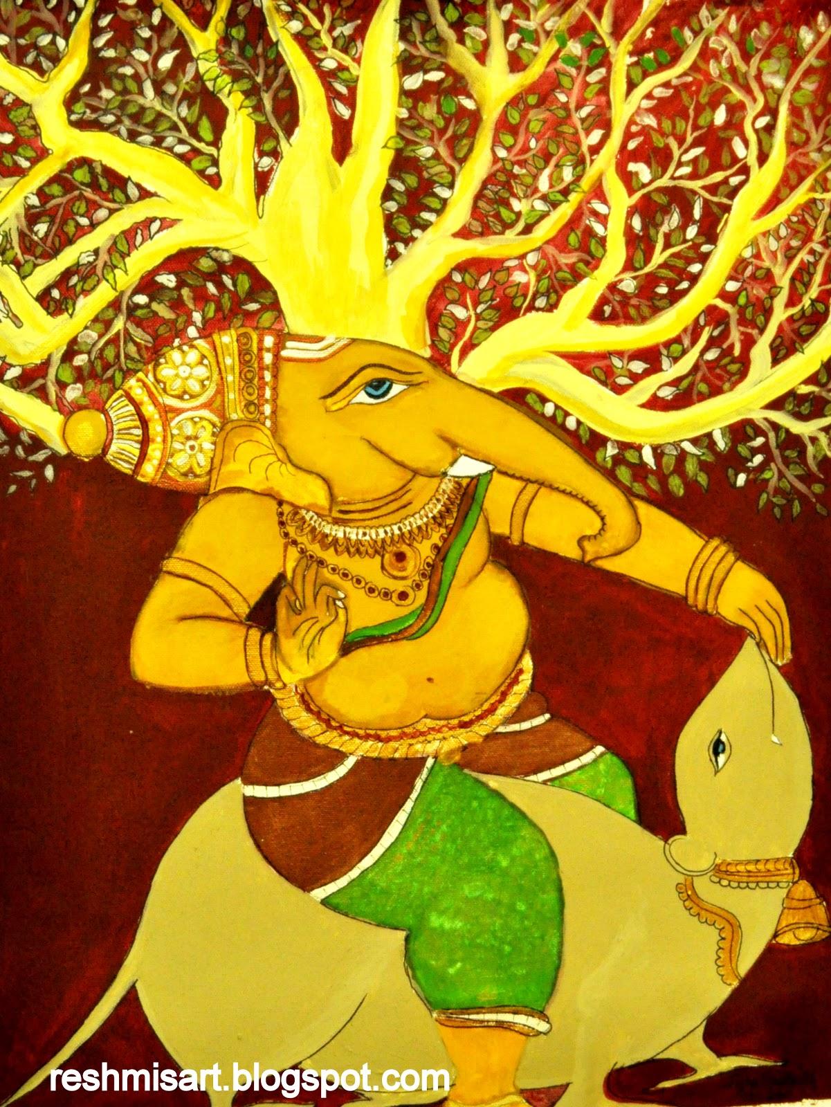 Reshmi 39 s art my new ganesha mural for Mural ganesha