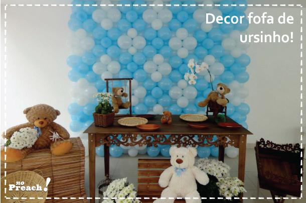 dicas - ideias - inspirações para fazer uma festa aniversário infantil - ursinho - azul e branco