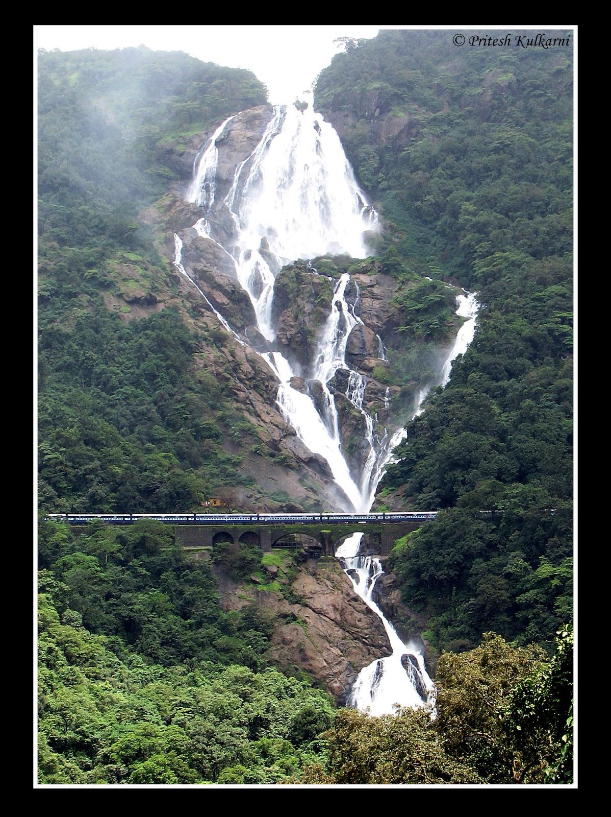Goa Train Waterfall Train in Dudhsagar Waterfall