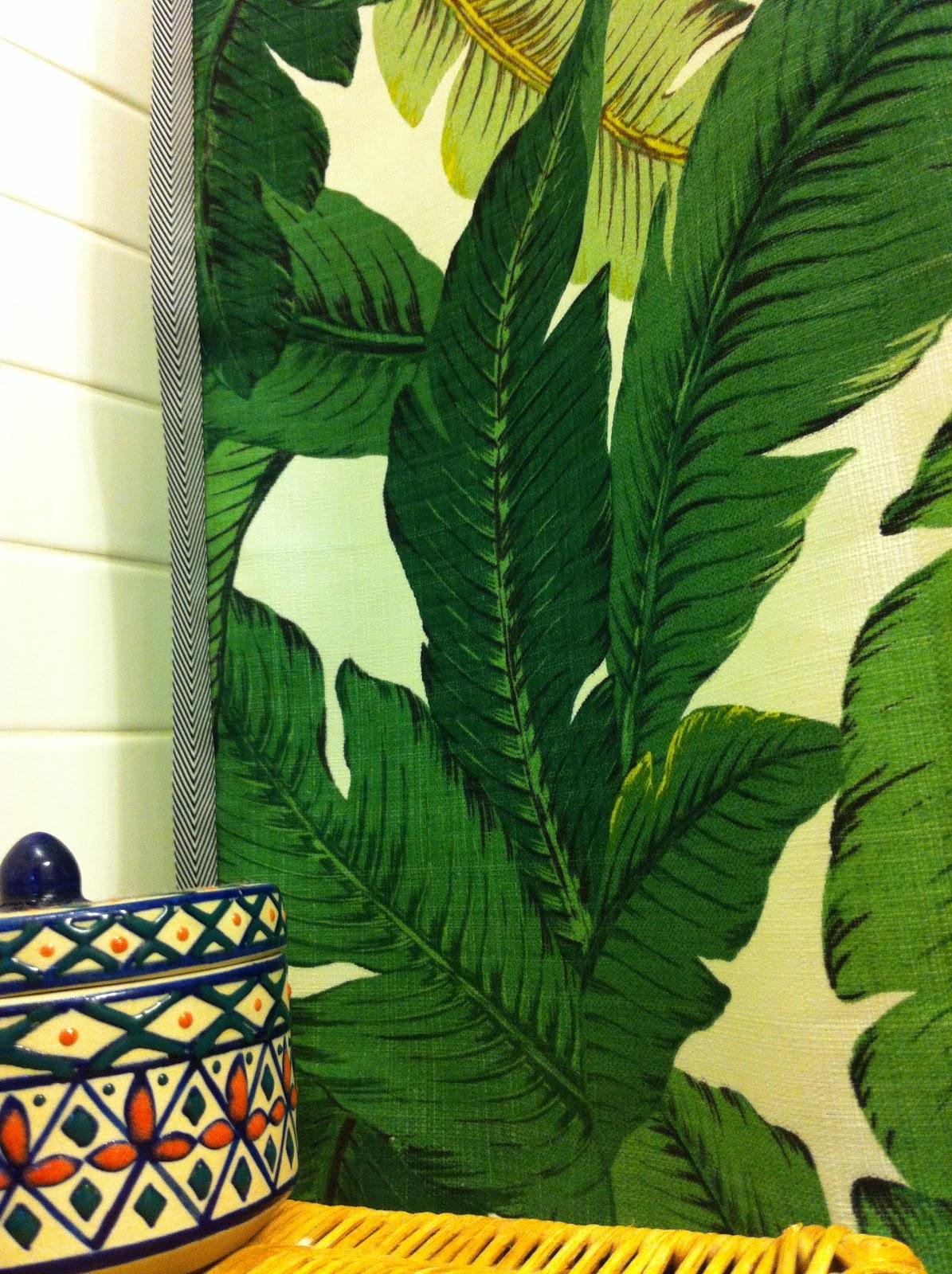 Katie Gavigan Interiors: palm leaf shower curtain