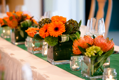 orange and green wedding centerpieces