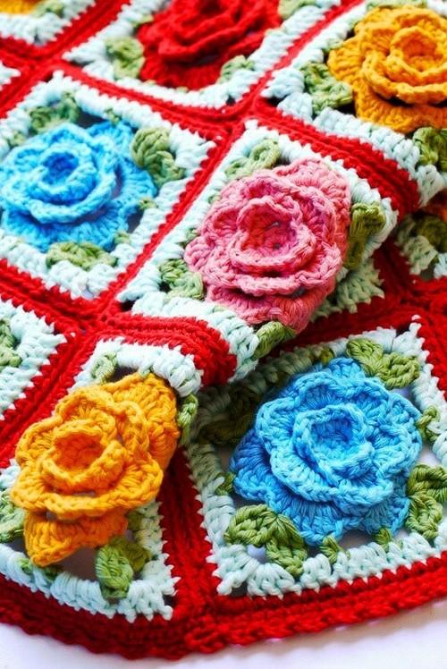 Mes favoris tricot crochet mod le gratuit un plaid granny fleur - Modele plaid tricot gratuit ...