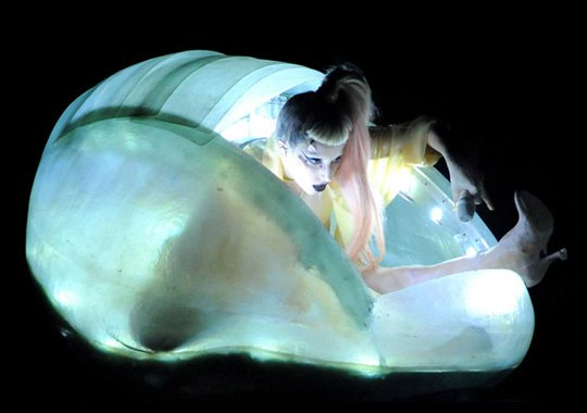 through one's head: is this Lady Gaga back in her egg from the Grammys?