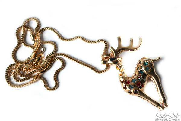 deer necklace with gold chain