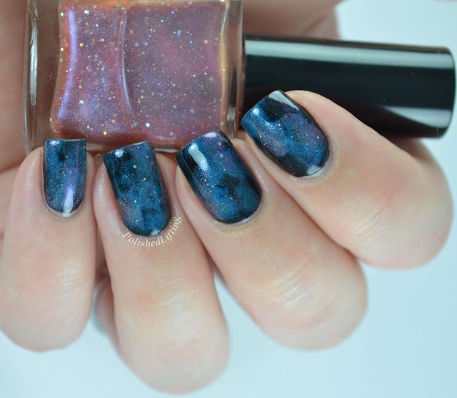 Firecracker Lacquer Your Mom Thought I Was Big Enough Deborah Lippmann Video Killed the Radio Star Sinful Colors Black on Black Galaxy mani