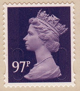 97p airmail Machin definitive stamp.
