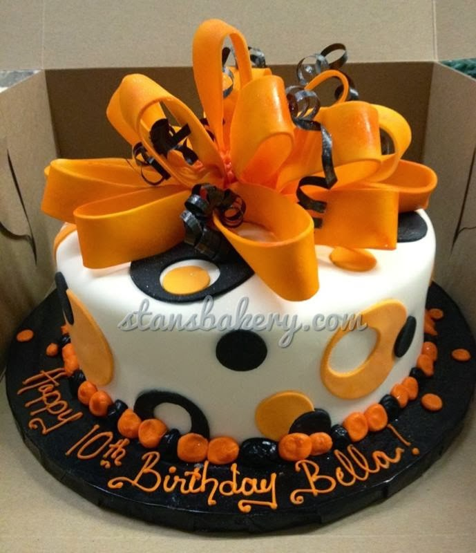 Leslies Cool Cakes From Stans Northfield Bakery Orange And Black Fondant Birthday Cake