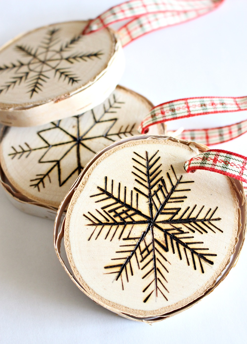 DIY birch slice ornaments with wood burned designs