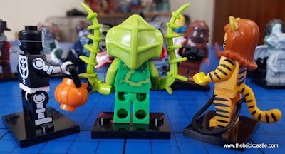 LEGO Minifigures Series 14:Skeleton Guy Plant Man Tiger Woman side view