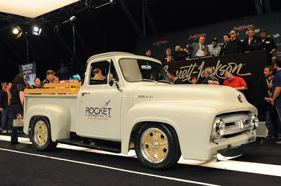 There may not be a more recognizable name in the world of custom cars than Chip Foose, and those star-struck (and well-healed) fans of Foose just had the opportunity to purchase one of the designer's custom creations for their very own garage. This 1953 Ford F-100 pickup was created to commemorate the 60th anniversary of the one item just about everybody has in their toolbox: WD-40.  Way back when, WD-40 was sold by the Rocket Chemical Company, and the vintage artwork on the door highlights that little bit of trivia. Under the truck's massive flowing hood sits an original 239-cubic-inch flathead V8 engine, with appropriately modern updates, naturally. A set of one-off Foose wheels wearing Pirelli P Zero tires completes the aesthetic.  All proceeds from the vehicle sale will benefit two charities: Childhelp and Victory Junction.
