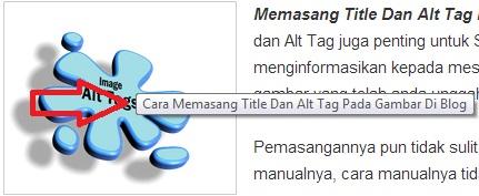 title dan alt tag teks gambar di blog